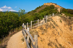 Path to the Stob Pyramids. Path along the Stob Pyramids rock formations in Bulgaria Stock Images