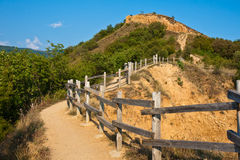 Path to the Stob Pyramids. Path along the Stob Pyramids rock formations in Bulgaria Stock Image