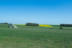 The path to Stonehenge - UNESCO World Heritage Site. Beautiful view of green hills and blue sky stock image