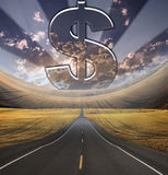 Path to Success. With large dollar symbol Stock Images