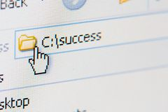 Path to success. Close up shot of a laptop screen, shallow DOF, focus on C letter royalty free stock photography