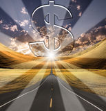 Path to Success. With large silver dollar sign Royalty Free Stock Photo
