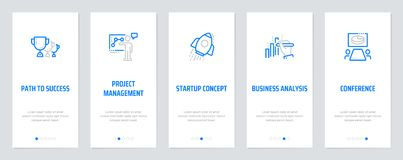 Path to success, Project management, Startup concept, Business analysis, Conference Vertical Cards with strong metaphors. Template for website design Royalty Free Stock Photography