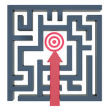 Path to the target in the maze Royalty Free Stock Images