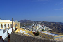 Temple path and amazing Santorini landscape Royalty Free Stock Image