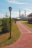 Path to temple. White mosque, Bulgar, Russia Royalty Free Stock Photo