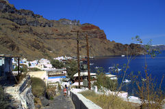 Greek island harbor walkway Stock Image