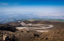 The path to the top of Mount Etna volcano Stock Image