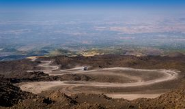 The path to the top of Mount Etna volcano Royalty Free Stock Photo