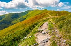 Path to the top of the mountain. Beautiful summer landscape. great destination to travel. location Velykyi Verkh peak of Borzhava ridge in Carpathian mountains Stock Photography
