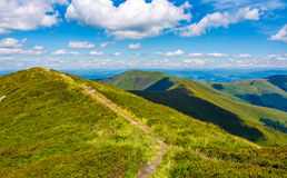 Path to top peak of the ridge. Gorgeous summer landscape Stock Image
