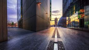 Path to Tower Bridge and City Hall, South Bank, London, England Royalty Free Stock Photos