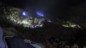 The path to viewing blue flames at Mount Ijen crater. Long exposure shot. Royalty Free Stock Photography