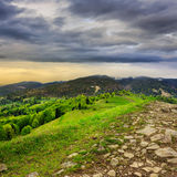 Path on top of mountain meadow Royalty Free Stock Photography