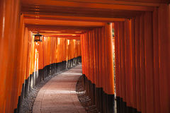 Path Through Torii Gates. A path curves to the right through a passageway created from hundreds of bright red torii gates at the Fushimi Inaru complex near Kyoto Royalty Free Stock Image