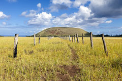Path towards hill in Easter Island. Path between fences towards hill in Easter Island royalty free stock photo