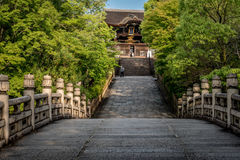 Path towards a temple. Path towards a Buddhist temple in Kyoto, Japan royalty free stock photography