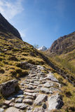 Path up to Glencoe mountains Scotland UK in sunshine Royalty Free Stock Photos