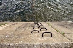 Path Up From The Water. A ladder to climb up out of the water or down into it Stock Image