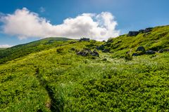 Path uphill in to the cloud. Lovely mountain landscape in summer. tourism and summer activities concept Royalty Free Stock Images