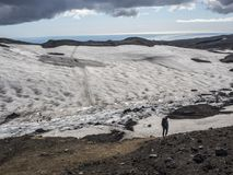 The path from the volcano to the ocean through the snowfields Royalty Free Stock Photography