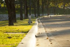 Path for walking in a beautiful Park. Path for walking in a beautiful Park at sunset Royalty Free Stock Photography