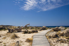 Path way on a beautiful beach in Greece Royalty Free Stock Image