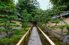 Stone pathway of Japanese garden at temple, Kyoto Japan Royalty Free Stock Photos