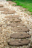 Path way. Wooden path way in garden Stock Image