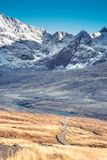 Path and winter scenery in the mountains - snow covered rocky summits of Cuillins in Glenbrittle, Isle of Skye, Scotland. Path and winter scenery in the royalty free stock images