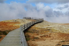 Path. Wooden path within geothermal field Royalty Free Stock Photos