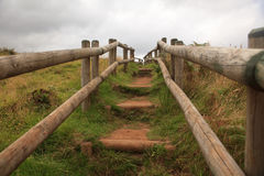 Path of wooden stairs in Sao Miguel Island, Azores Stock Photography