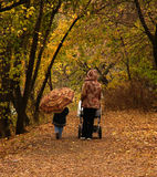 Path in woods in autumn. A woman pushing a stroller and young child walking along a path in the woods in autumn Royalty Free Stock Images