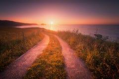 Path in Zarautz at sunset. Path near the coast in Zarautz at sunset royalty free stock photography