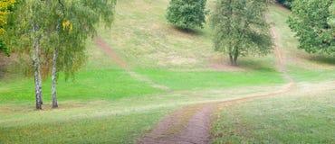 Pathes in una sosta vuota Fotografie Stock