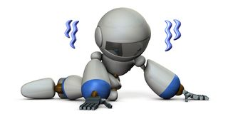 A pathetic robot lying on the floor. It is full of disappointment. White background. 3D illustration. A cute robot stock illustration