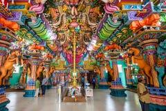 Pathirakali Amman Temple, Trincomalee. TRINCOMALEE, SRI LANKA - FEBRUARY 15, 2017: Pathirakali Amman Temple or Pathrakali Ambal Kovil interior. It's a Hindu Stock Photo