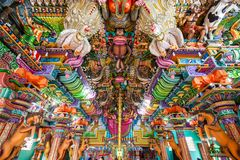 Pathirakali Amman Temple, Trincomalee. TRINCOMALEE, SRI LANKA - FEBRUARY 15, 2017: Pathirakali Amman Temple or Pathrakali Ambal Kovil interior. It's a Hindu Royalty Free Stock Photos