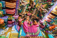 Pathirakali Amman Temple, Trincomalee. TRINCOMALEE, SRI LANKA - FEBRUARY 15, 2017: Pathirakali Amman Temple or Pathrakali Ambal Kovil interior. It's a Hindu Royalty Free Stock Photo