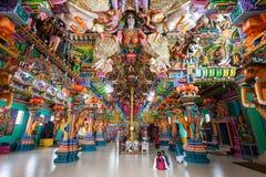 Pathirakali Amman Temple, Trincomalee. TRINCOMALEE, SRI LANKA - FEBRUARY 15, 2017: Pathirakali Amman Temple or Pathrakali Ambal Kovil interior. It's a Hindu Stock Photography