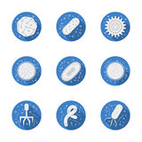Pathogens round blue icons collection vector illustration