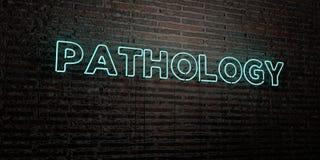 PATHOLOGIE - Realistisch Neonteken op Bakstenen muurachtergrond - 3D teruggegeven royalty vrij voorraadbeeld stock illustratie