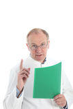 Pathologist discussing results. Pathologist or research scientist wearing a white labcoat and holding a folder discussing his results with his finger raised Stock Image