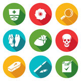 Pathologist and morgue Icons Set. Vector Stock Image