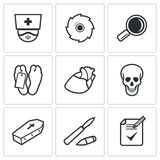 Pathologist and morgue icons set. Vector Illustration Royalty Free Stock Photography