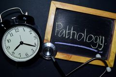 Pathology Handwriting On Chalkboard On Top View. Royalty Free Stock Images