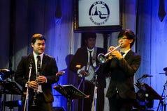 Pathorn Srikaranonda and Jazz Minions band perform in concert. CHONBURI, THAILAND - NOVEMBER 27 : Pathorn Srikaranonda and Jazz Minions band perform in `Jazz in Stock Photos