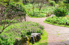 The paths in the flower garden Royalty Free Stock Images