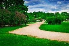 Mars field in Saint Petersburg. Paths in green park. Mars field in Saint Petersburg, Russia Stock Photo