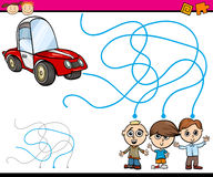 Paths or maze cartoon game. Cartoon Illustration of Education Path or Maze Game for Preschool Children with Boys and Car Stock Image
